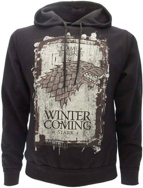 Sudadera con Capucha Hoodie Winter IS Coming Familia Casa Stark Serie de Televisión Juego DE Tronos Game of Thrones - 100% Oficial HBO