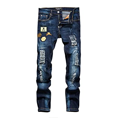 fff3d1f57571 Men Ripped Holes Jeans