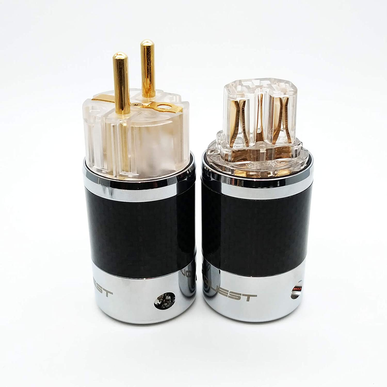T+SQ-C39 G T IEC Carbon Fiber Metal Chassis Connector Transparent SQ-E39 SONARQUEST Gold Plated EU Power Plug G
