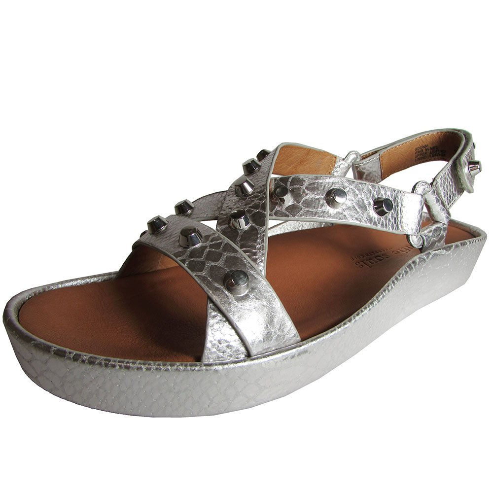 Gentle Souls Womens Uconn to Studded Platform Sandal Shoe, Silver, US 6.5 B012TVUJYY 11 B(M) US|Silver