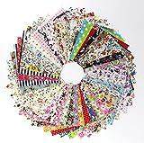 Arts & Crafts : 60 Pcs Fabric Cotton 100% Printed Boundle Patchwork Squares of 10*10cm