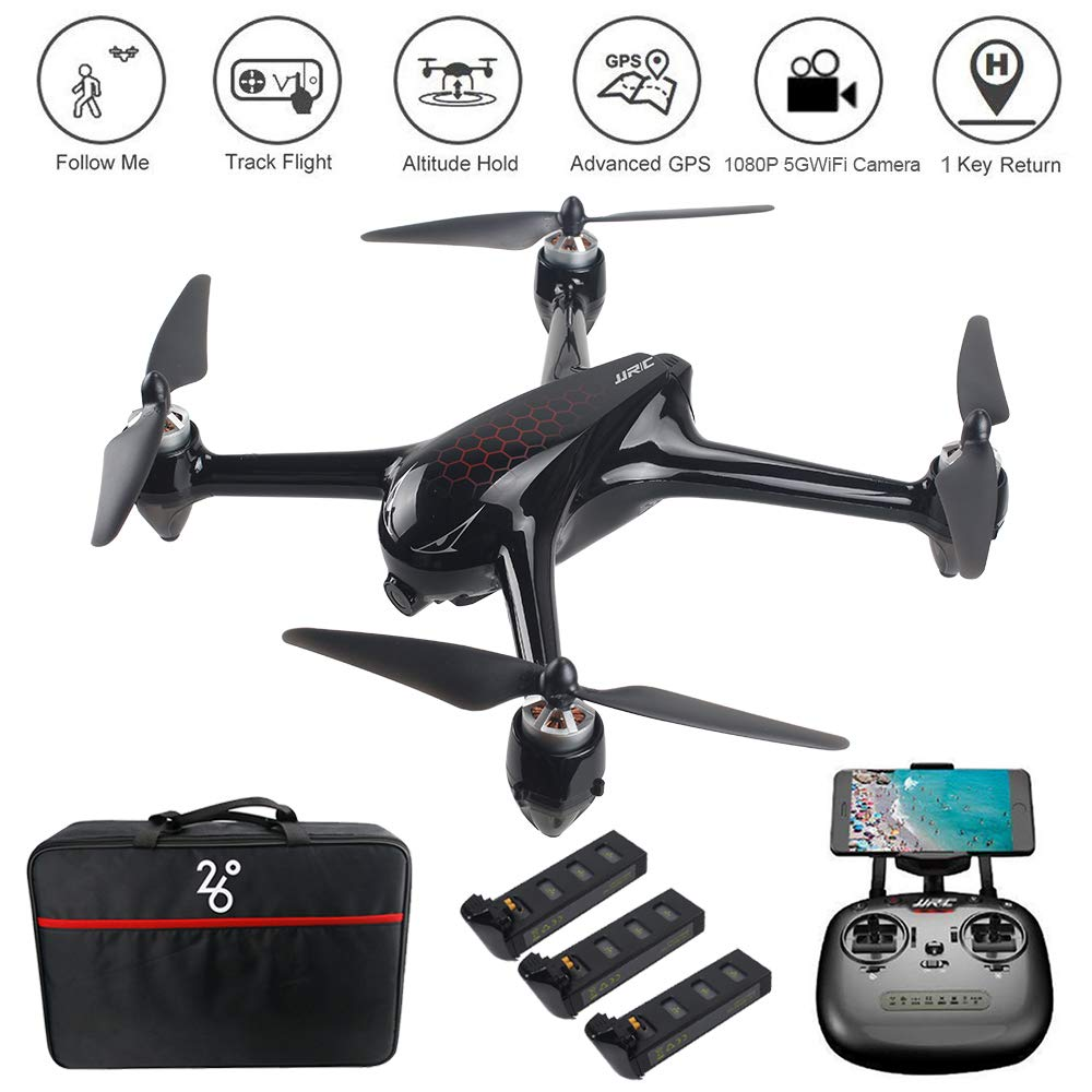 LOHOME Drone MJX B5W Bugs 5W RC Quadcopter Drone 1080P 5G WiFi Camera Live Video, 6-Axis Gyro FPV Drone, GPS Return Home/Altitude Hold/Follow Me/Point of Interest Flying/Adjustable Camera Angle