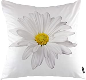 oFloral Daisy Throw Pillow Covers White Petal Floral Plant Nature Bloom Botany Decorative Square Pillow Case 18