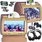 9inch tv headrest for cars - Autotain 2x HERO-Y 9 inch Digital Touch Screen Car TV Headrest DVD Player Monitor TAN BEIGE
