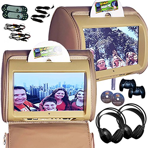 Autotain 2x HERO-Y 9 inch Digital Touch Screen Car TV Headrest DVD Player Monitor TAN BEIGE