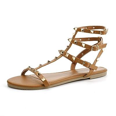 SANDALUP Rivets Studs Flat Sandals w Double Metal Buckle for Women's Summer Dress Shoes | Flats