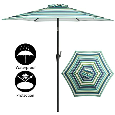 TAGI 7.5 feet Hand Shake Outdoor Patio Umbrella 6 Rib Crank Lift Hand tilt, Green Blue Yellow and White Stripes