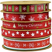 Fowod Christmas Winter Ribbon,mixed 0.39 inch and 0.59 inch, 16 feet each roll (Red)