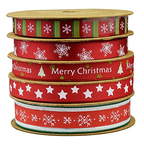 Christmas Winter Ribbon,mixed, 16 feet each roll