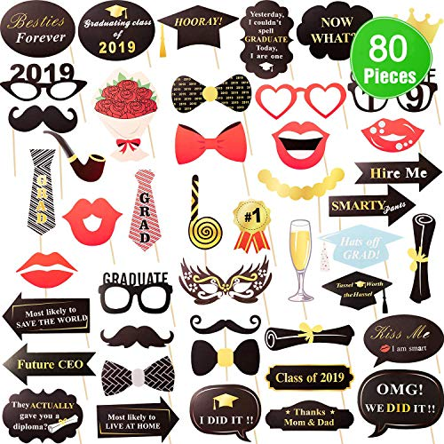 MeiMeiDa 80 Count Graduation Photo Booth Props Kit, 2019 Graduation SelfiePhoto Props Decorations with Sticks for Kids,for Graduation Party Supplies,Congrats Grad, Large Size for More Fun