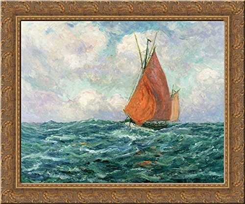 (Tuna Boat at Sea 20x20 Gold Ornate Wood Framed Canvas Art by Maufra, Maxime)