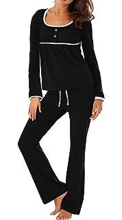 Jusfitsu Women s Long Sleeve Pajamas Sets Cotton Sleepwear Top with Pants  Soft Pj Sets ae2e604ee