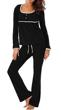 Jusfitsu Women s Long Sleeve Pajamas Sets Cotton Sleepwear Top with Pants  Soft Pj Sets Black S 58f68955f