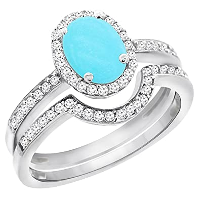 14K White Gold Diamond Natural Turquoise 2-Pc. Engagement Ring Set ...