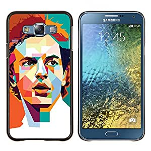 Caucho caso de Shell duro de la cubierta de accesorios de protecci¨®n BY RAYDREAMMM - Samsung Galaxy E7 E700 - Cartel Pol¨ªgono Arte Individuo retro Hombre