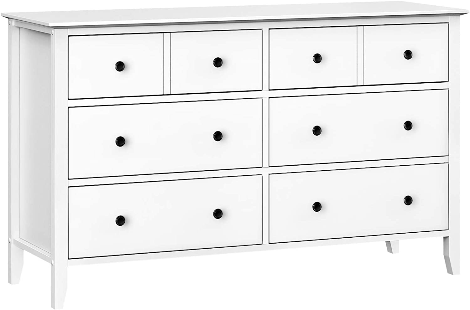 VASAGLE 6-Drawer Dresser, Chest of Drawers with Solid Wood Frame, Storage Unit for the Bedroom, Living Room, with Antique-Style Handles, Easy Installation, White