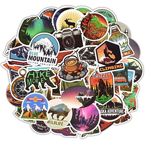 Homyu Stickers Pack 50-Pcs Decals of Outdoors for Laptops Cars Motorcycle Portable Luggages Ipad Waterproof Sunlight-Proof
