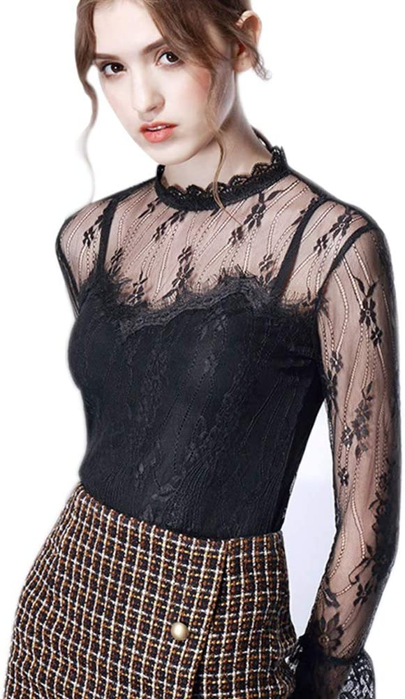 Miqieer Juniors Long Sleeve Sheer Lace Top Mesh Mock Neck Floral Sexy Lace Blouse for Teens