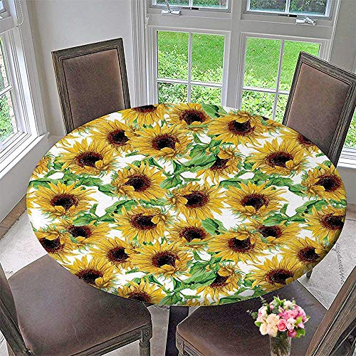 Sunflower Collection Wild (Mikihome Picnic Circle Table Cloths Collection Dried Sunflowers Illustration Wildflowers Branch Herbarium Artistic Design Fine Art for Family Dinners or Gatherings 43.5