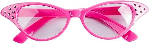 Womens Cat Eye Glasses Rhinestone Clear Lens 50s Retro Vintage Style Pink Frame