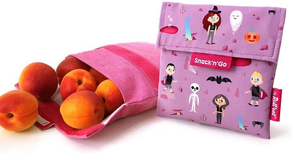 Senza BPA Sacchetto Porta Panino e Merenda Morbido Snack/'n/'Go Porta Snack Ecologico Riutilizzabile e Impermeabile Antimacchia Lavabile Colore Azzurro Roll/'Eat