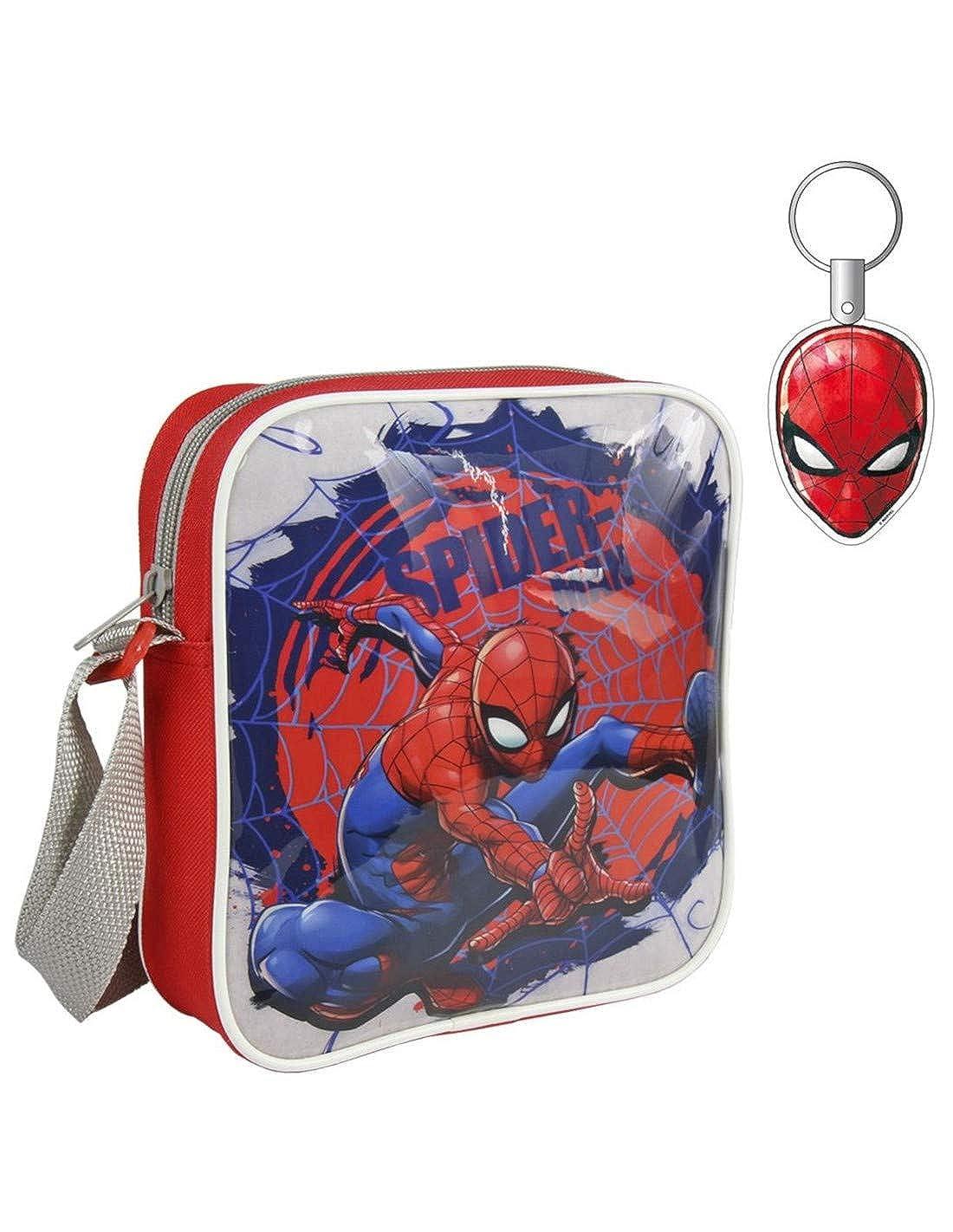 Sac bandouli/ère et porte-cl/és enfant gar/çon Spider-man Rouge 20x16cm