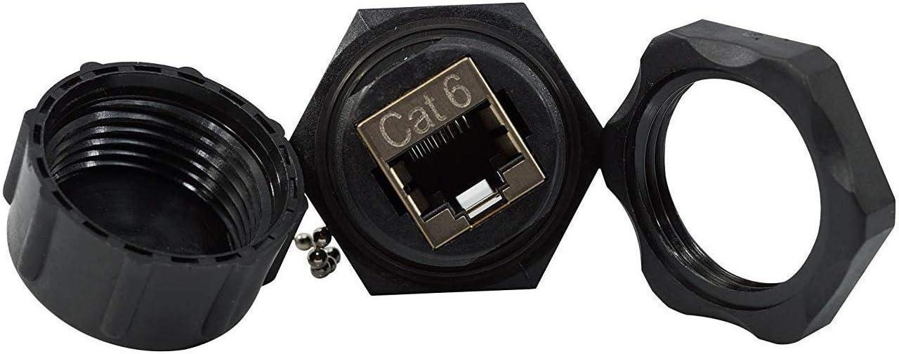 Network Connectors InstallerParts CAT6 RJ45 Shielded Industrial Panel Mount Bulkhead Female//Female Feed Thru Coupler IP67 Waterproof//Dust Cap 5 Pack, Black