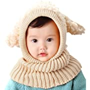 Bienvenu Kids Hat Winter Cold Weather Crochet Earmuff Beanie Hat Scarves Neck Warmer 1 Piece Set, Beige