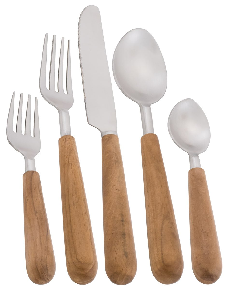 5 pc. Stainless Steel Place Setting w/ Round Wooden Danish Handles - Stockholm