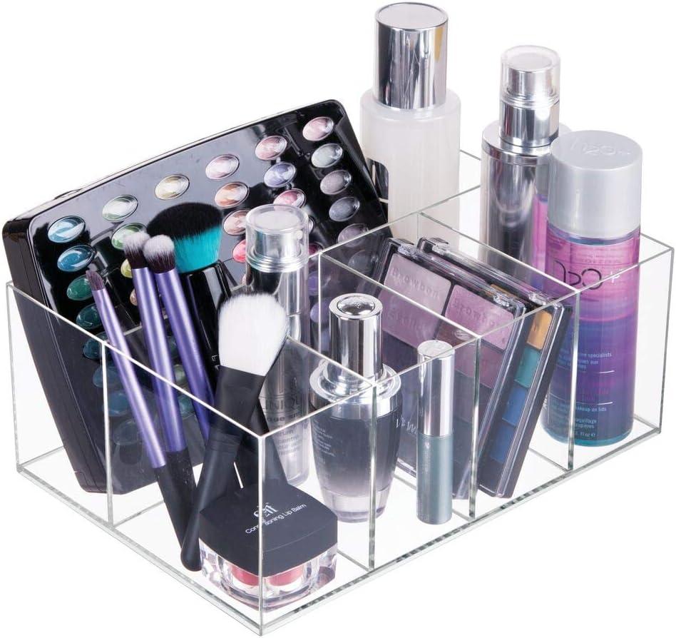 bo/îte de rangement maquillage avec cinq compartiments pour cosm/étiques transparent lot de 2 vernis /à ongles et produits de beaut/é mDesign organiseur /à maquillage rangement make up pratique