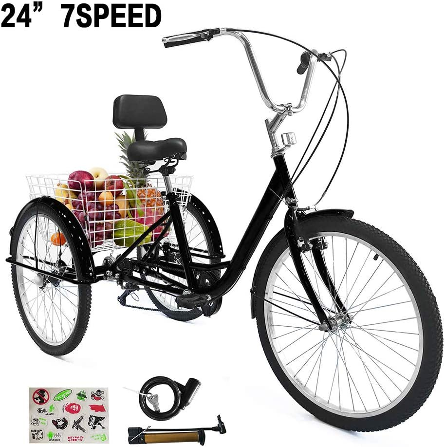 "20/"" Adult Tricycle 3 Wheel Bicycle  Cruise Trike w// Shopping Basket 155-180cm"