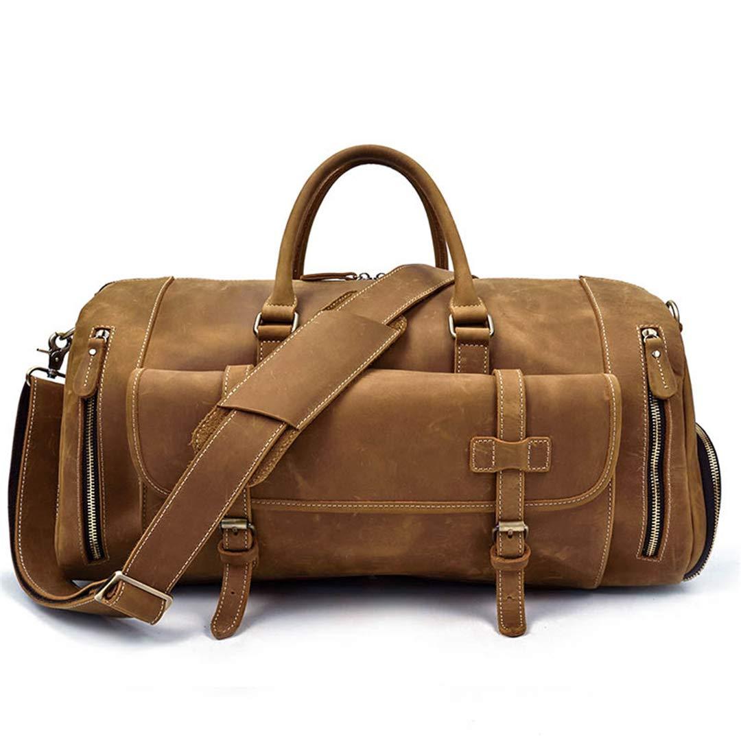 Mens Big Capacity Genuine Leather Travel Bag Durable Crazy Horse Leather Travel Duffel Large Shoulder Bag Type7 45cm