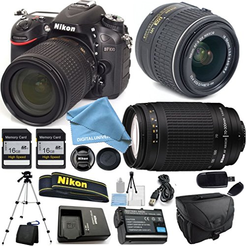 Nikon D7100 18-55mm f/3.5-5.6 DX VR, Nikon 70-300mm f/4-5.6G Nikkor, 2X 16GB Memory Cards, Camera Case