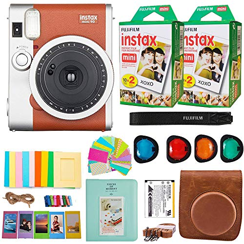 Fujifilm Instax Mini 90 Neo Classic Instant Film Camera (Brown) + Fuji Instax Film Twin Pack (40 Film) + Accessories Kit/Bundle + Fitted Case + 4 Filter Lens + Frames + Photo Album + More