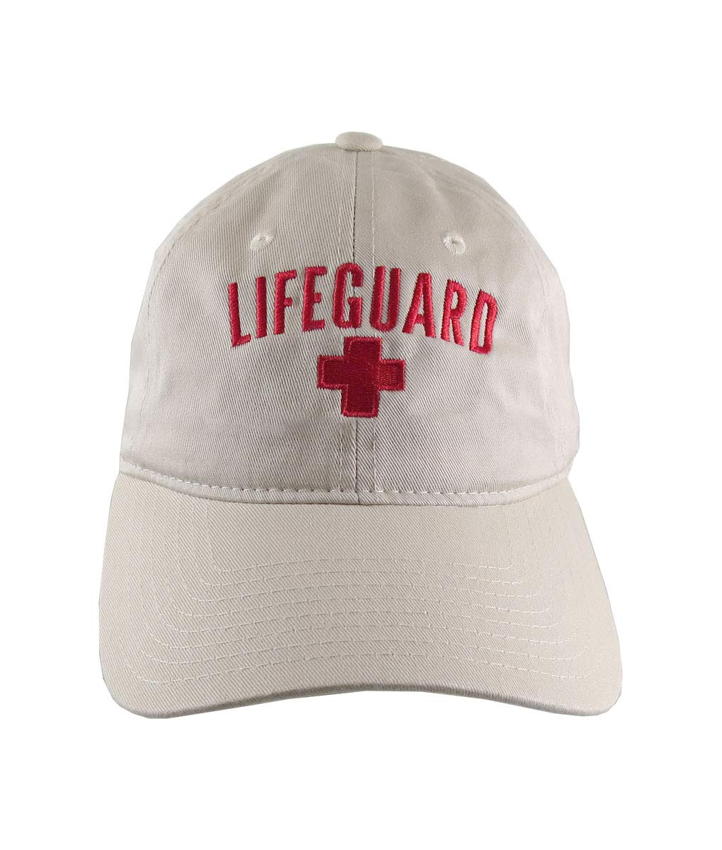 7637141e5a3aae Beach Swimming Pool Lifeguard Red Embroidery on Adjustable Beige  Unstructured Baseball Cap Dad Hat with Option to Personalize the Hat:  Amazon.ca: Handmade