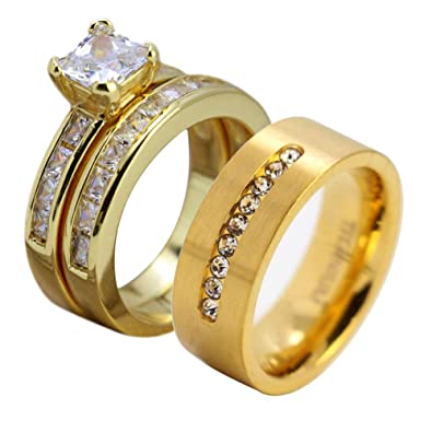 452d8d023d Gy Jewelry His and Hers Wedding Ring Sets Couples Matching Rings Women  Yellow Gold Plated Cubic