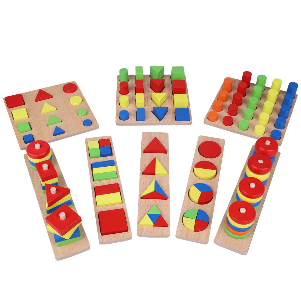8Pcs/Set Wooden Puzzle Intellectual Block Early Educational Geometry Shape Building Assembling Learning Toy Zerodis