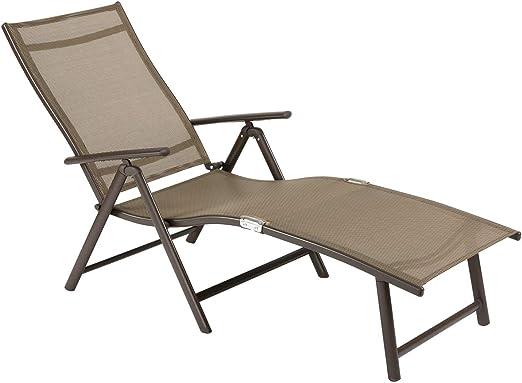 Tumbona de Ouman, silla de jardín ajustable, tumbona plegable de aluminio, ligera, estable para terraza, balcón, camping, festival, marrón: Amazon.es: Jardín