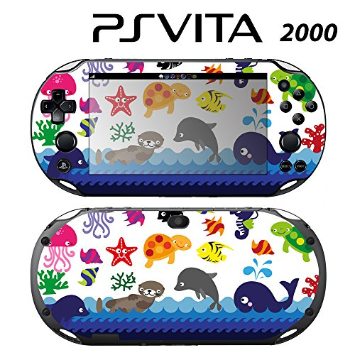 Skin Decal Cover Sticker for Sony PlayStation PS Vita Slim (PCH-2000) - Sea Animal Jellyfish Dolphin -  Decals Plus, PV2-PA30