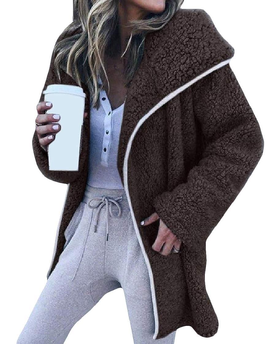 YUNY Women Warm Velvet Long-Sleeve Open-Front Lapel Mid Long Coat Jacket Coffee S