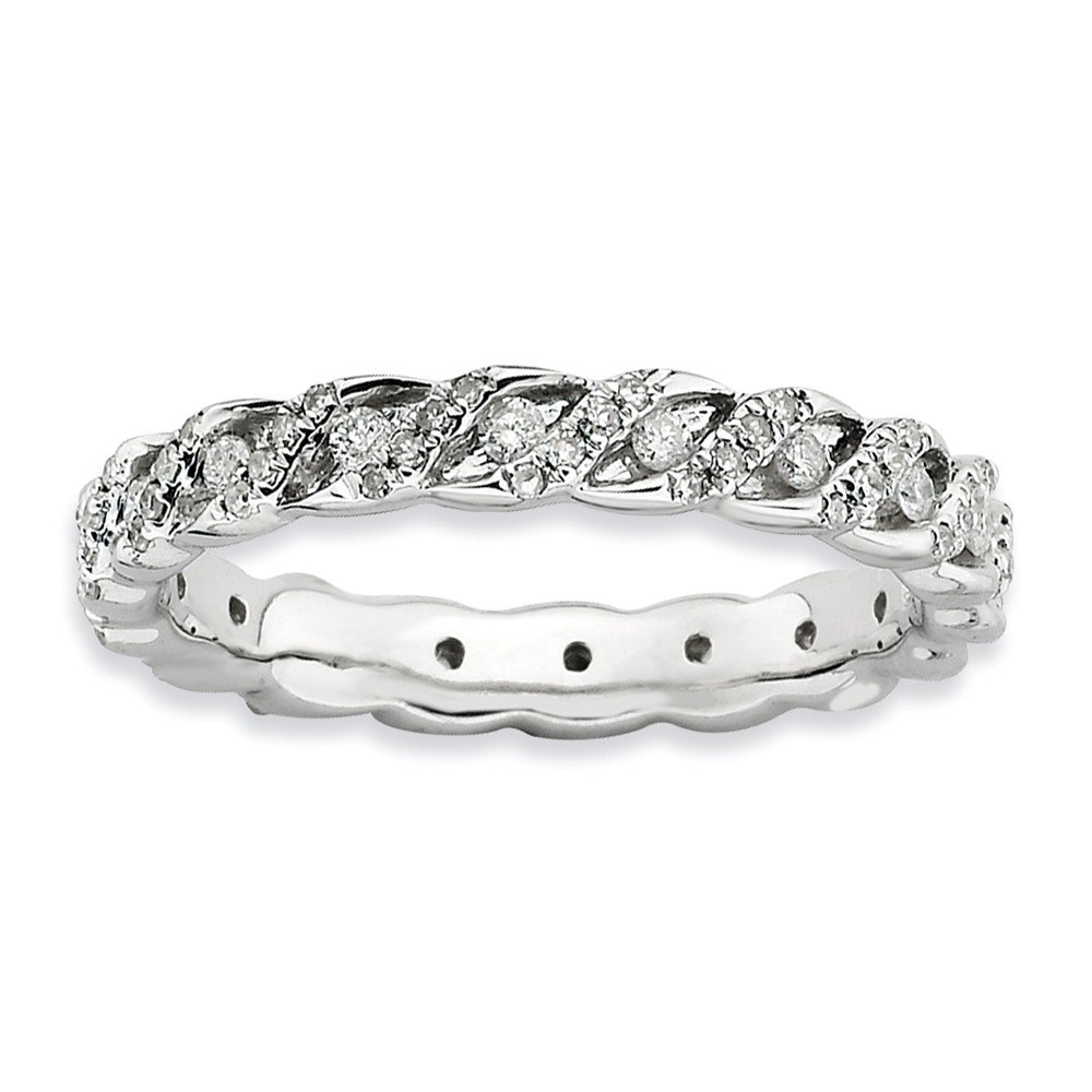 Diamond (I3, J-K 0.5 cttw) Size 8 3.5mm Spiral Eternity Band Silver Stackable Expressions Ring