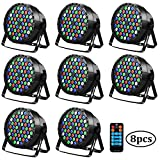 Uplights Baisun 54 Led RGBW Stage Lights DJ Party Lights By Romote DMX Controler For Wedding Parties (8 Pack)