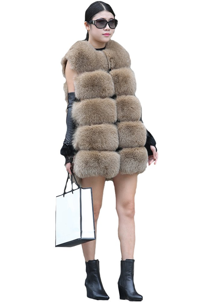 Queenshiny New Style Women's 100% Real Fox Fur Luxury Vest Gilet-Khaki-M(8-10) by Queenshiny