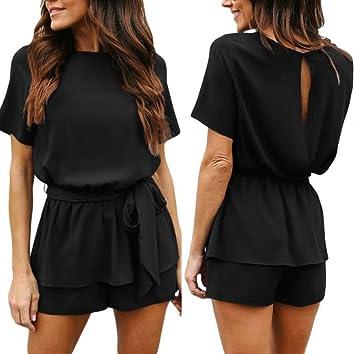 2eede76518fe Amazon.com  Fheaven Women Jumpsuit Casual Solid Back Open Bandage Waist Ruffled  Romper Lace-Up Playsuit (L