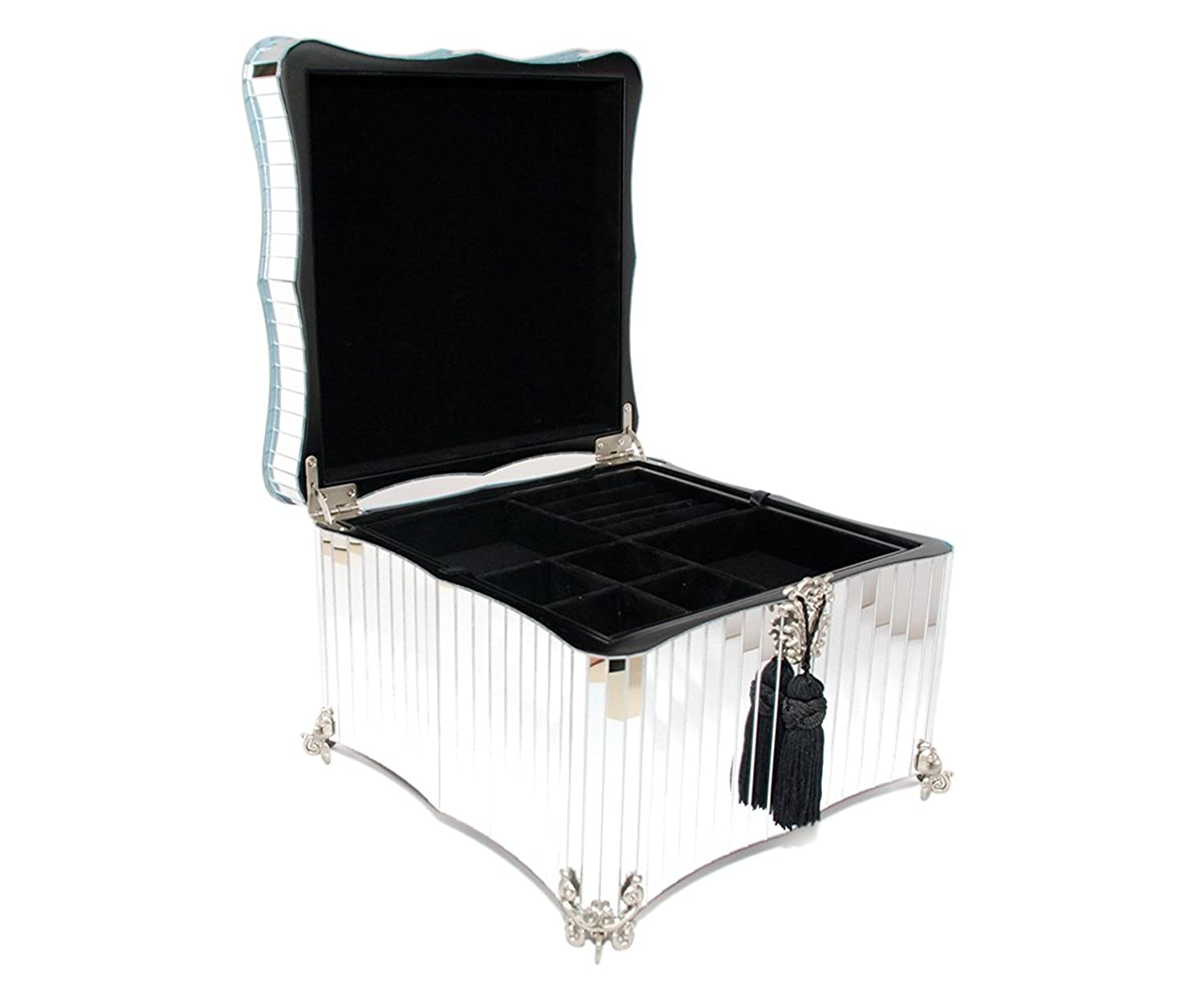 Glamour Mirrored Jewelry Box Hand-finished, Mirrored jewelry box decorated with exquisite crystals 00-JJTMEC-29