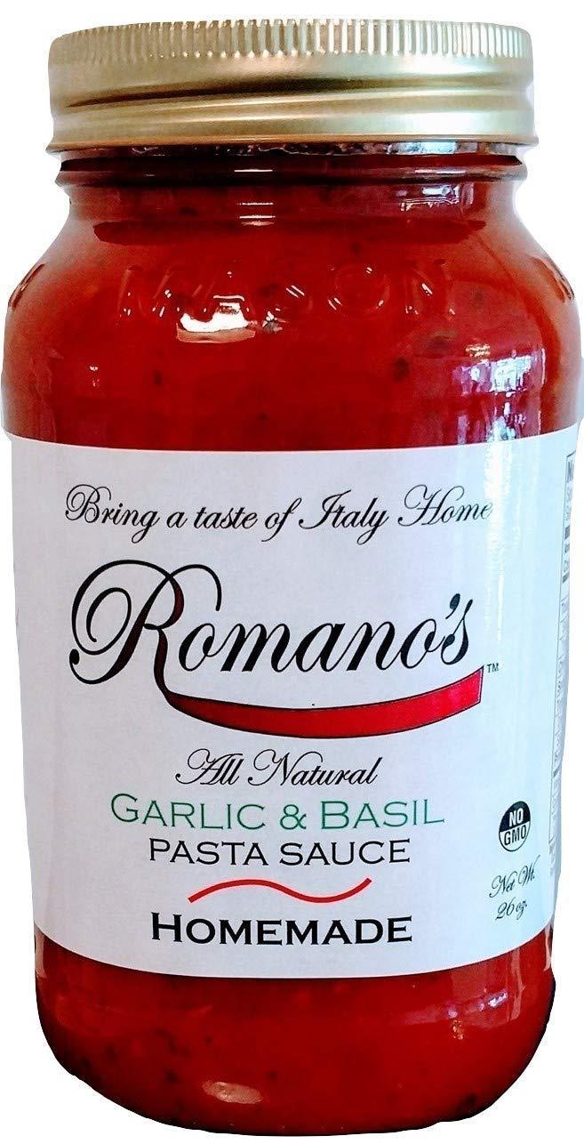 Romano's Pasta Sauce Garlic Basil ALL NATURAL 26 oz no added sugar NO GMO