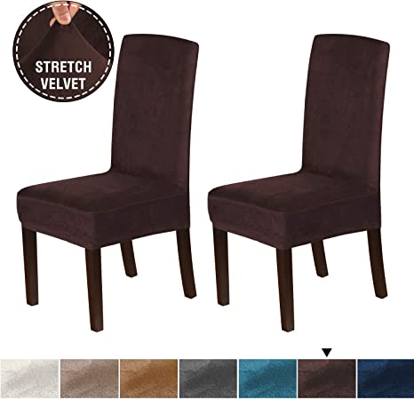 Set of 2, Brown Washable High Back Dining Chair Covers Soft and Rich Fabric Stretch Furniture Dining Chair Slipcover with Elastic Bottom H.VERSAILTEX Velvet Plush Dining Chair Slipcovers