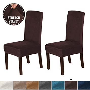 Awe Inspiring H Versailtex Velvet Plush Dining Chair Slipcovers Washable High Back Dining Chair Covers Soft And Rich Fabric Stretch Furniture Dining Chair Caraccident5 Cool Chair Designs And Ideas Caraccident5Info