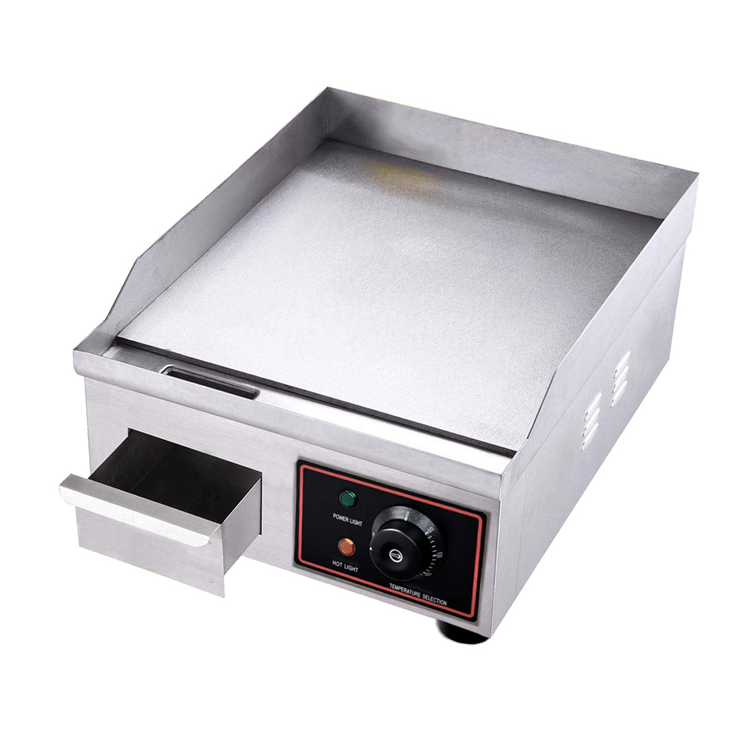 Stainless Steel Restaurant Grill Proshopping 1500W 14 Commercial Electric Countertop Griddle Grill with Adjustable Temperture Control Tabletop Flat Grill 110V