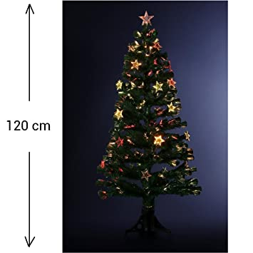 34d245d016c DECO NOEL - Sapin de Noël artificiel en fibre optique + 18 étoiles  lumineuses - livré
